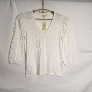 Lucky Brand White V-Neck 3/4 Sleeve Top Size S